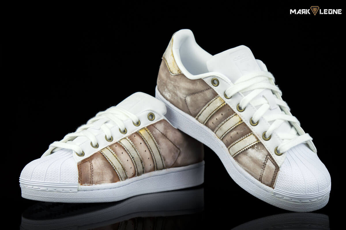 Customade Adidas Super Star Special Vintage Technique Brown Gold 1edbdc56f15