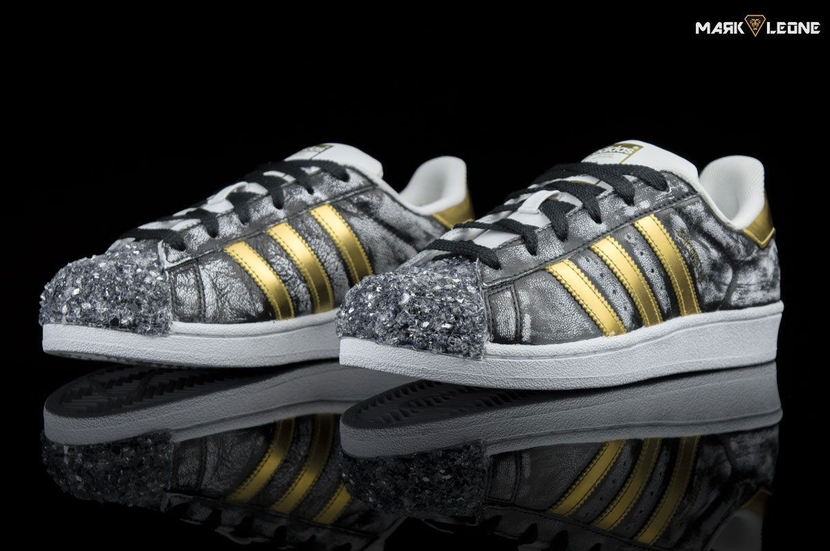 210c97d4ab02 Handmade Custom Adidas Super Star Gold Glass Hanpainted Vintage – by Mark  Leone ®.