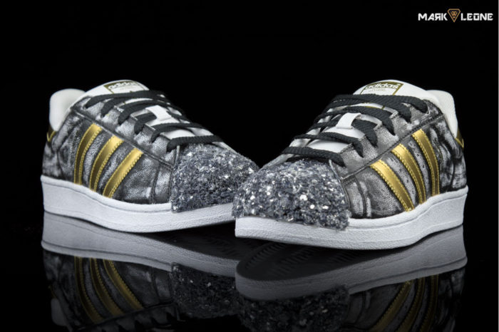 Handmade Custom Adidas Super Star Gold Glass Hanpainted Vintage – by Mark Leone ®.