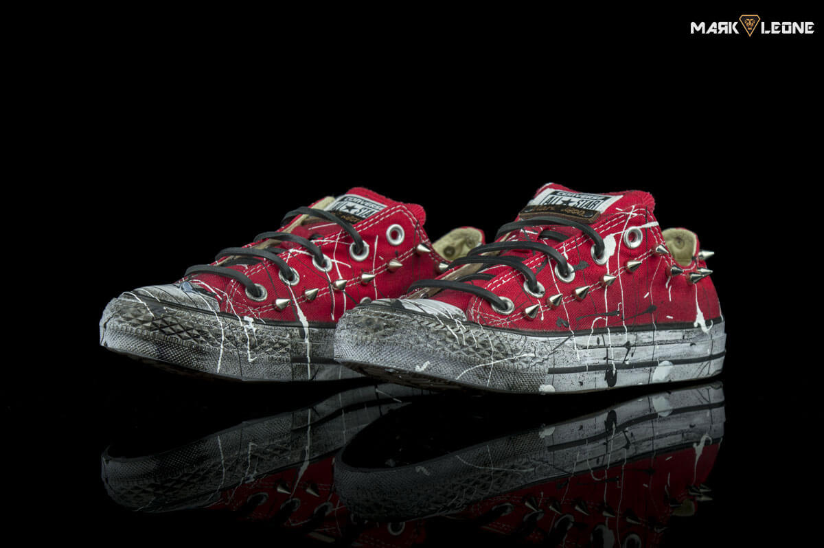 Customized Converse All Star Low Top Red Splach Spikes by Mark Leone ® c86ca409d