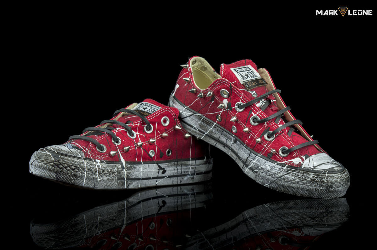 3bf7175bbbd0 discount customized converse all star low top red splach spikes by mark  leone d50fc e0172