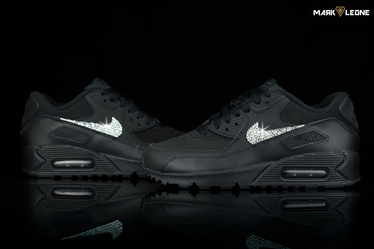 Handmade Nike Air Max 90 Black Leather Swarovski  4920e0704